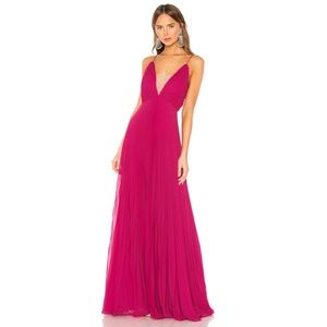 Jill Stuart Pleated Deep V-Neck Sleeveless Gown